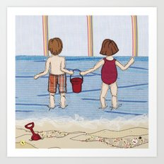 Embroidered Beach Illustration Art Print