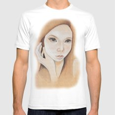 Self Portrait on Wood Mens Fitted Tee SMALL White