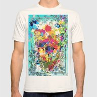 Skull Botonical Mens Fitted Tee Natural SMALL