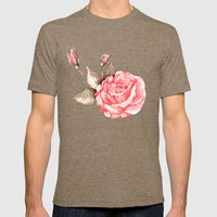 Watercolor Rose Mens Fitted Tee Tri-Coffee SMALL
