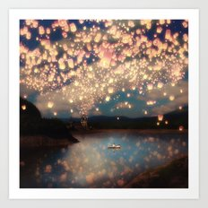 Love Wish Lanterns Art Print