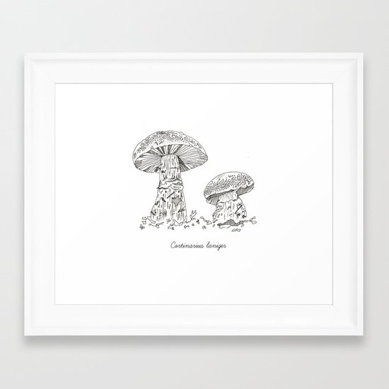 Cortinarius Laniger // Hand Drawn Fungi Series Framed Art Print
