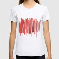 Red Strokes Womens Fitted Tee Ash Grey SMALL