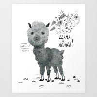 Llama Or Alpaca Art Print