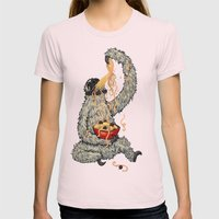 Three Toed Sloth Eating Spaghetti From a Bowl Womens Fitted Tee Light Pink SMALL