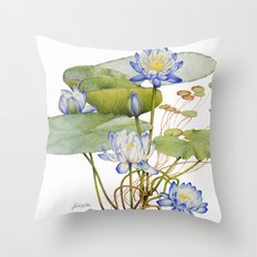 Blue Water Lily Botanical Throw Pillow