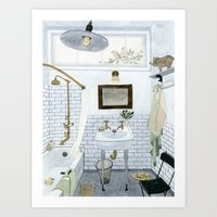 In The Bathroom Art Print