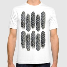 Black Stripe Feathers Mens Fitted Tee White SMALL