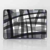 Grey Crossed Stripes iPad Case