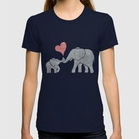 Elephant Hugs Womens Fitted Tee Navy SMALL