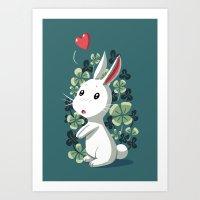 Clover Bunny Art Print