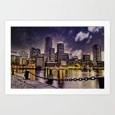 Skyline of Boston Harbor Art Print