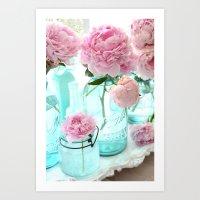 Shabby Cottage Pink Peonies Vintage Mason Jars Art Print