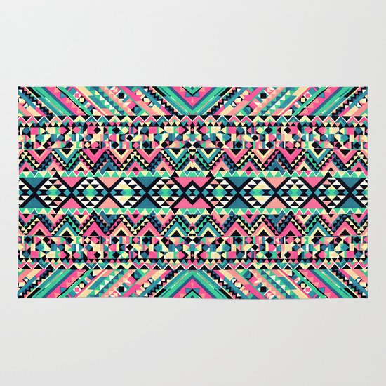 Pink Turquoise Girly Aztec Andes Tribal Pattern Area & Throw Rug