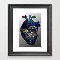 Denver in a Glitched Heart Framed Art Print