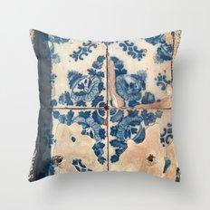 Blue Porto Tiles II Throw Pillow