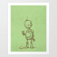 A Robot's Ice Cream Art Print