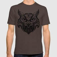 Owl - Drawing Mens Fitted Tee Brown SMALL
