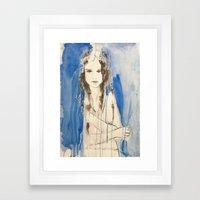 Through the blue haze Framed Art Print