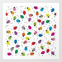Ladybirds Rainbow Art Print