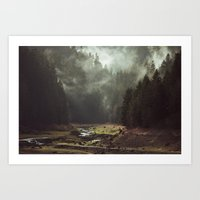 peace Art Prints featuring Foggy Forest Creek by Kevin Russ