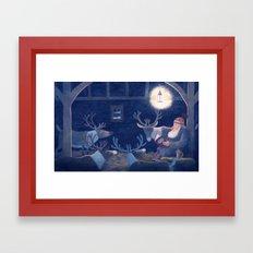 Goodnight reindeer Framed Art Print