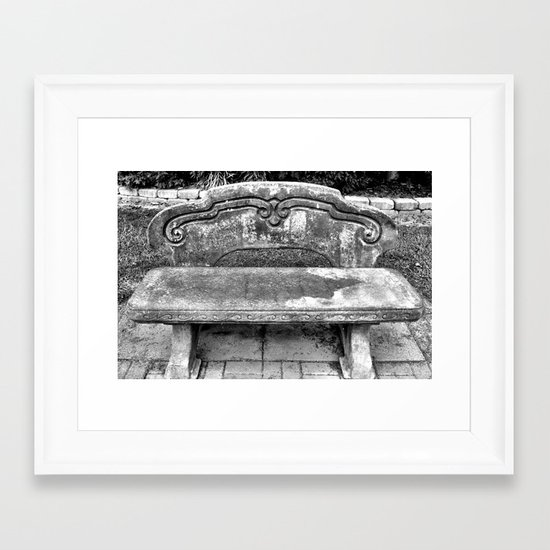 Lone Bench Framed Art Print