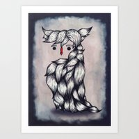 Her Owl Hair Art Print