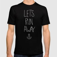 Let's Run Away | Sandy Beach, Hawaii Mens Fitted Tee Black SMALL