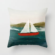 The Boat that Wants to Float Throw Pillow