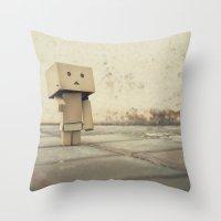 Danbo on the street Throw Pillow