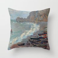 Boats On The Beach At Et… Throw Pillow