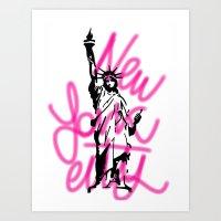 New York City Pink Neon Art Print