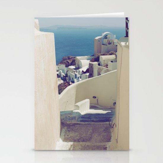 Santorini Stairs IV Stationery Card