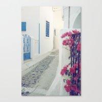 White Santorini Street Canvas Print
