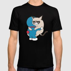 Cat Hugs SMALL Mens Fitted Tee Black