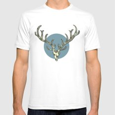 Antlers SMALL White Mens Fitted Tee