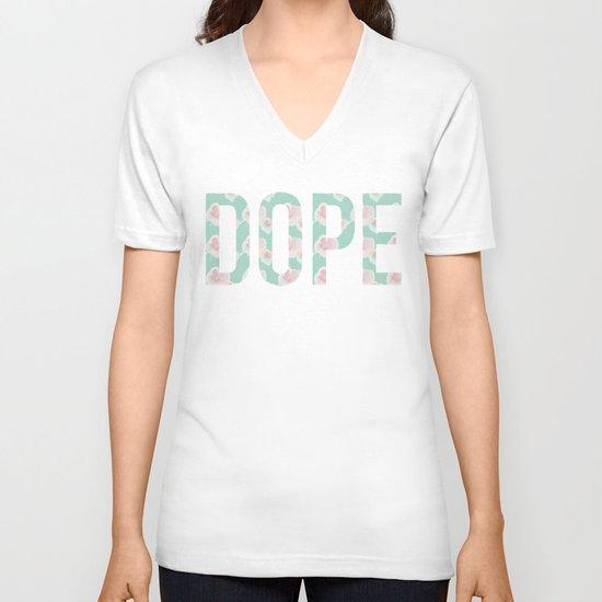 Dope Floral Teal V-neck T-shirt