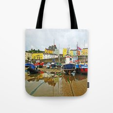 Tenby Harbour Reflection.Wales. Tote Bag