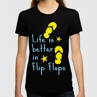 Life is better in Flip Flops Womens Fitted Tee Black SMALL