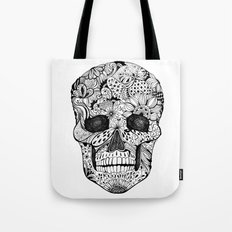 Human skull with hand- drawn flowers, butterflies, floral and geometrical patterns Tote Bag