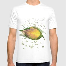 Autumn Leaf on Green Mens Fitted Tee SMALL White