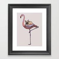 Flamingo and French Bulldog  Framed Art Print