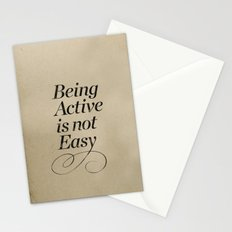 Being active is not easy. Stationery Cards