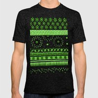 Yzor pattern 007 green Mens Fitted Tee Tri-Black SMALL