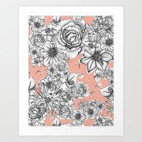 B&W Flowers Coral Art Print
