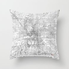 Indianapolis Map Line Throw Pillow