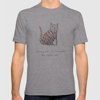 Lightning Bolt Cats Are … Mens Fitted Tee Athletic Grey SMALL