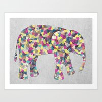 Elephant Collage In Gray… Art Print