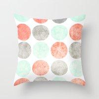 Circles (Mint, Coral & Gray) Throw Pillow